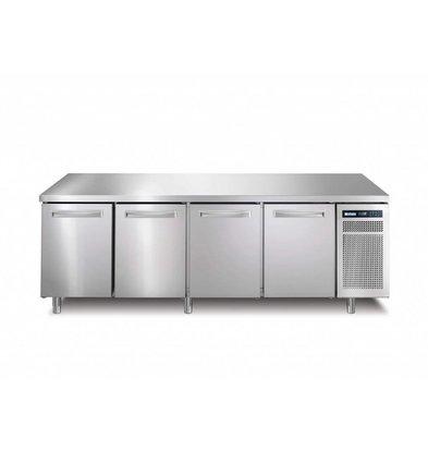 Afinox Kühltisch Edelstahl   4-Türig   R290   SPRING 704 I/A TN    226x70x(h)90cm