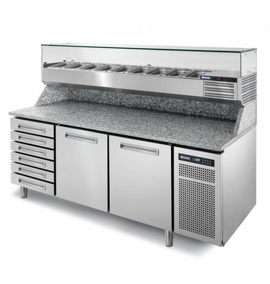 Afinox Pizzatisch Edelstahl | 2-Türig + Schubladen Ungekühlt | PIZZASPRING 821 I | Afinox | 200,5x80x(h)104cm