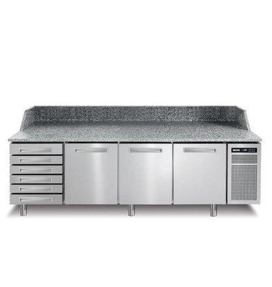 Afinox Pizzatisch Edelstahl   3-Türig + Schubladen Ungekühlt   PIZZASPRING 831 I   Afinox   256x80x(h)104cm