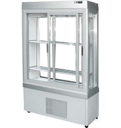 Tekna Line Konditorei Vitrine Aluminium | Schiebetüren | 0-10°C | 3 Seiten Glas | 90x55x(h)188cm