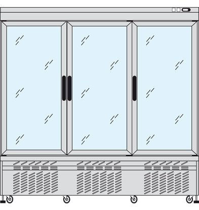 Tekna Line Konditorei Vitrine Aluminium | 3 Klapptüren | -5/+10°C  | 2 Seiten Glas | 197x64x(h)193cm