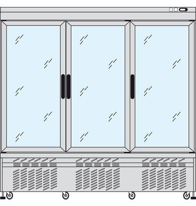 Tekna Line Display Tiefkühlschrank Aluminium | 3 Klapptüren | +5°C / -25°C  | 2 Seiten Glas | 197x64x(h)193cm