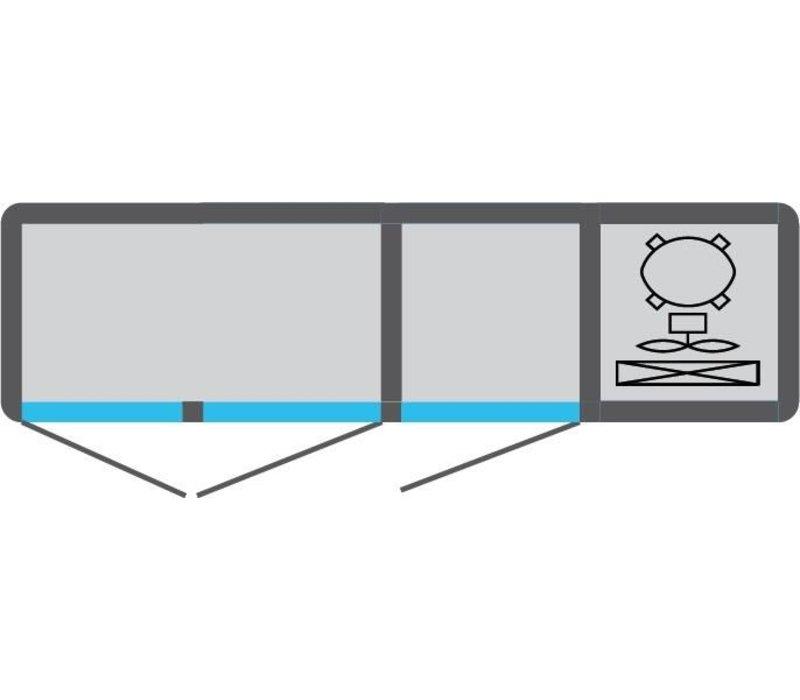 Tekna Line Barcounter | Edelstahl | 3 Glastüren | +10°/-5°;+5°/-25°C  | 178x55x(h)88,5cm