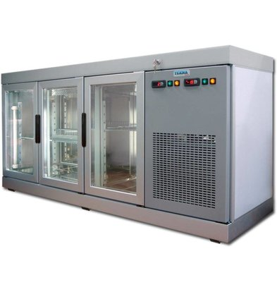 Tekna Line Konditorei Vitrine  Barcounter   Front und Hinterseite Glas   Edelstahl   3 Glastüren   +10°/-5°C   178x55x(h)88,5cm