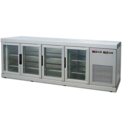 Tekna Line Barcounter   Front und Hinterseite Glas   Edelstahl   4 Glastüren   +10°/-5°;+5°/-25°C    222x55x(h)88,5cm