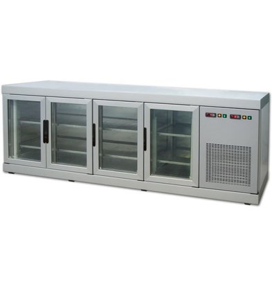 Tekna Line Barcounter   Front und Hinterseite Glas   Weiß   4 Glastüren   +10°/-5°;+5°/-25°C    222x55x(h)88,5cm