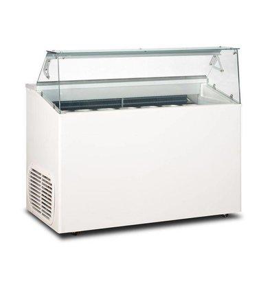 Framec Eistheke mit Glasaufbau | Geeignet für 7x5 Liter | 135x67,5x(h)117,5cm