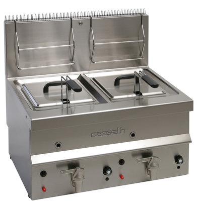 Casselin Gas Fritteuse 2x 10 Liter | Tischmodell 6500W | 700 x 600 x (H) 650 mm