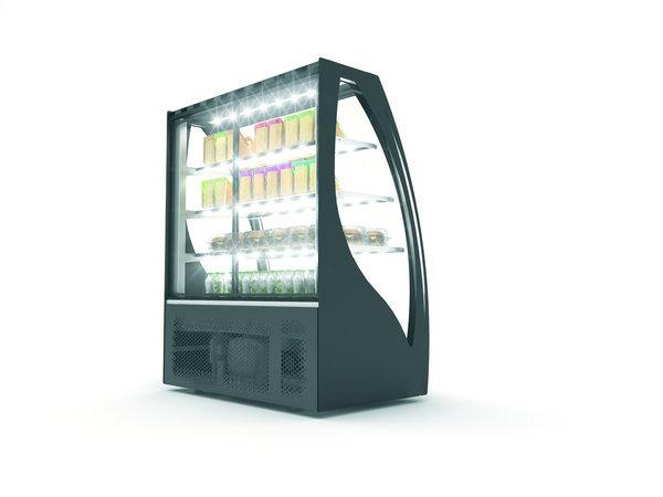 SAYL Gebogene Display Kühlvitrine   Zugang von hinten   1015x620x (H) 1240 mm
