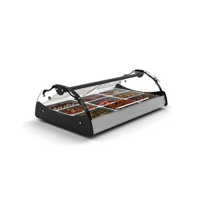 SAYL Maxiself Wärmevitrine | LED-Beleuchtung | Geeignet für 2x1 / 1GN 65mm | Selbstbedienung | 690 x 650 x 320 mm