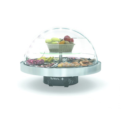 SAYL Rundes Buffet Kühlvitrine | Geeignet für 8 Buffetschalen | LED-Beleuchtung | 950x950x (H) 750 mm