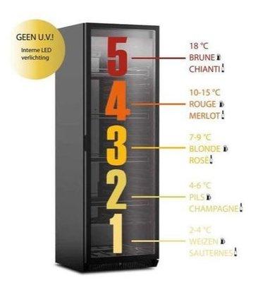 Framec Kühlschrank für Spezialbier und Wein | 5 Zonen | 4 Verstellbare Roste | 380Liter | 60x59,8x(h)183cm | Erhältlich in 2 Varianten