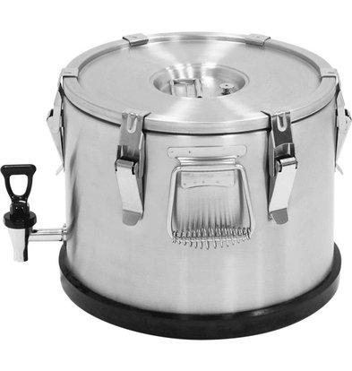 Stalgast Thermo-Transportbehälter Edelstahl | 15 Liter | mit Wasserhahn | (Ø) 360 mm (h) 295 mm