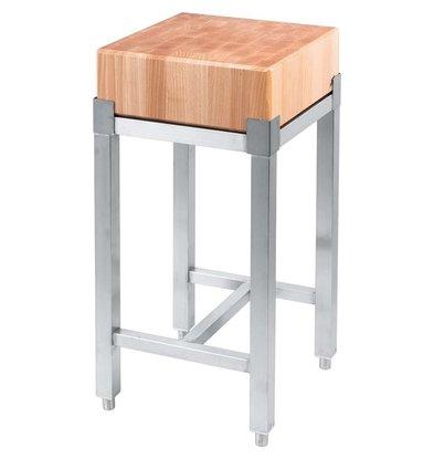 Stalgast Hackblock | Holz | Edelstahl-Unterstützung | (h) 800 mm (t) 400 mm (B) 400 mm