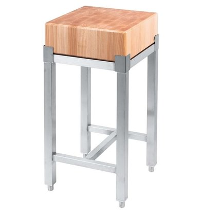 Stalgast Hackblock | Holz | Edelstahlhalterung | (h) 850 mm (t) 400 mm (B) 400 mm