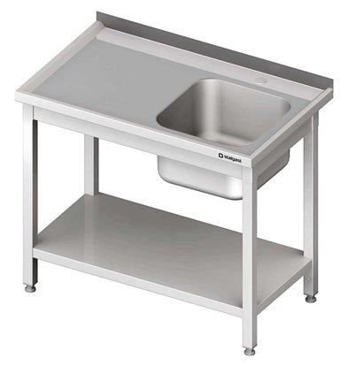 Stalgast Edelstahl Spültisch mit rechtem Waschbecken | Unterboden | (h) 850 mm (t) 600 mm (B) 1000 mm