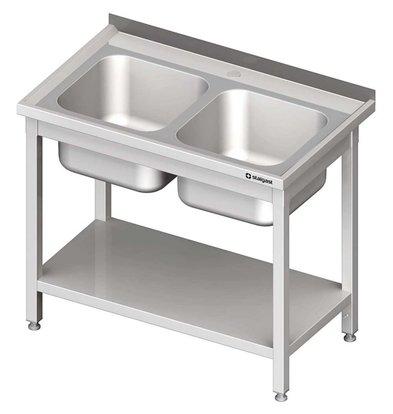 Stalgast Spültisch | 2 Waschbecken | zwei Unterboden | (h) 850 mm (t) 600 mm (B) 1000 mm