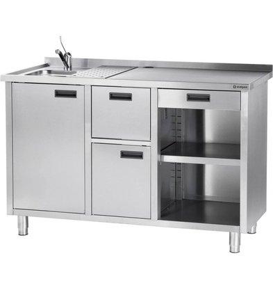 Stalgast Edelstahl Tisch für Kaffeemaschinen   Abtropffläche und Spüle   1500x700x (h) 1000mm