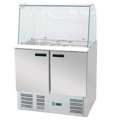 Stalgast Kühltheke mit Showcase   240L   0,23 KW   900x700x (h) 1300mm