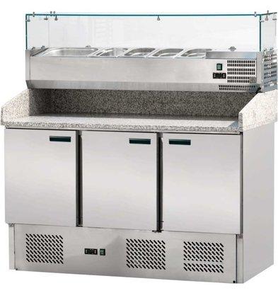 Stalgast Pizzatisch   Pizza-Theke   3 Türen   mit GN-Box-Halter   1400x700 (XH) 1450mm