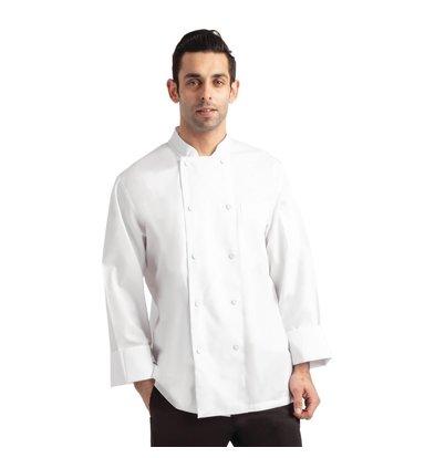 Chef Works Kochjacke Calgary Cool Vent | Weiß | Unisex | Stoffknöpfe | Lange Ärmel | Erhältlich in 6 Größen