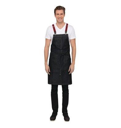 Chef Works Urban Halfter Schürze Urban Berkeley | Jeansschürze mit Hosenträgern | Dunkelblau | 100% Denim Baumwolle