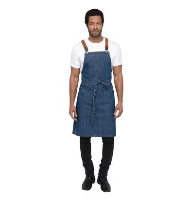 Chef Works Urban Halfter Schürze Urban Berkeley | Jeansschürze mit Hosenträgern | Blau | 100% Denim Baumwolle