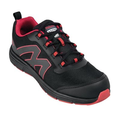 Slipbuster Footwear Sicherheitsschuhe Schwarz-Rot | Sportliches Modell | Rutschfest + Stahlkappe | Verfügbar bis Größe 46