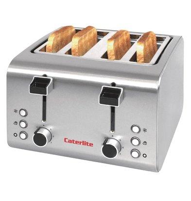 Caterlite Toaster aus Edelstahl | 4 Steckplätze | 1,8 kW | 255 x 270 x (H) 190 mm
