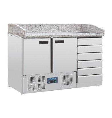 Polar Polar 2-türiger Pizzakühltisch mit Marmorfläche | 6 Schubladen | 1420 x 700 x (H) 1060 mm