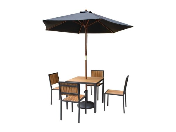 Bolero Akazienholz Stühle mit Stahlgehäuse | 450 x 530 x (H) 860 mm | 4 Stück