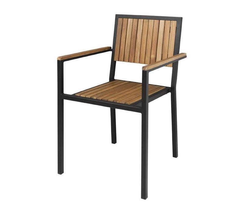 Bolero Akazienholz Stühle mit Stahlgehäuse | 550 x 530 x (H) 860 mm | 4 Stück