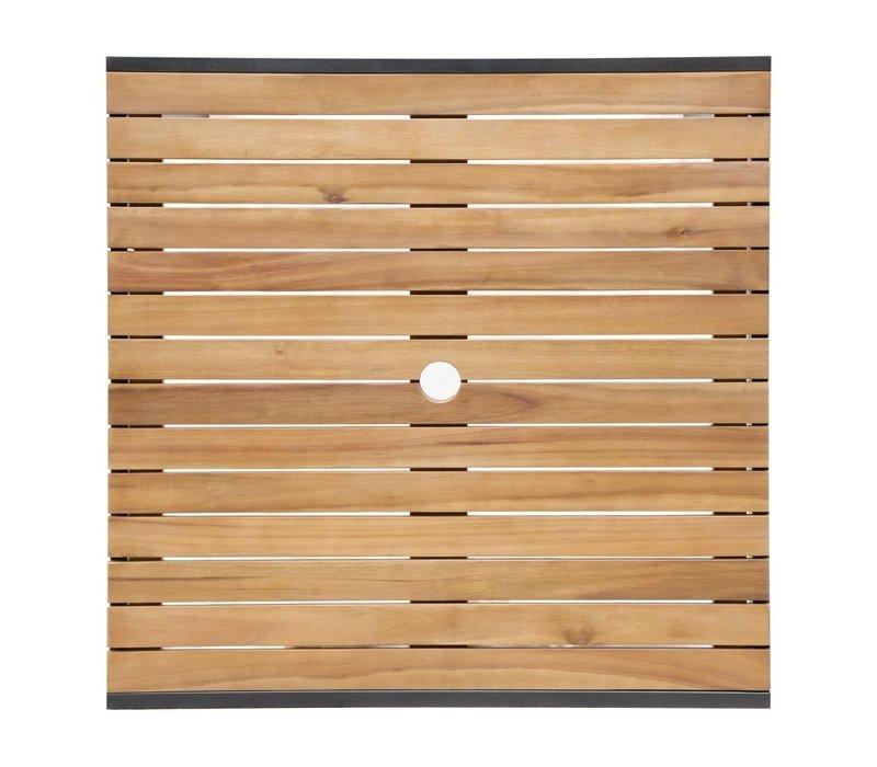 Bolero Akazienholz Tisch mit Stahlgehäuse   800 x 800 x (H) 740 mm