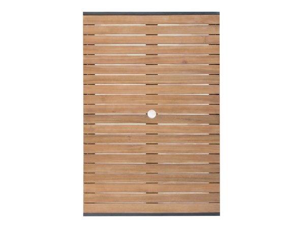Bolero Akazienholz Tisch mit Stahlgehäuse | 1200 x 800 x (H)740mm