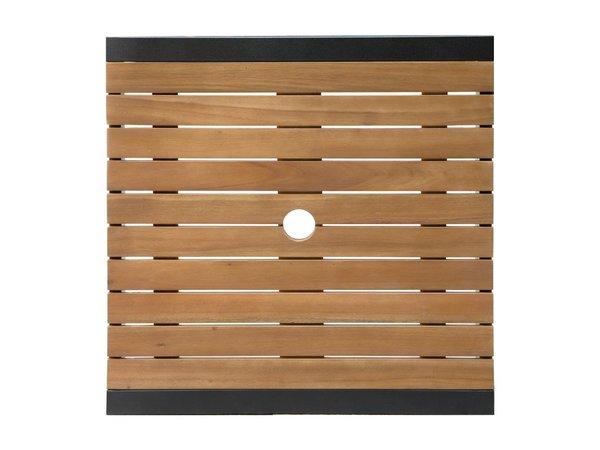 Bolero Akazienholz Stehtisch mit Stahlgehäuse | 600 x 600 x (H) 1000 mm