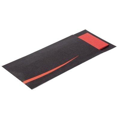 Europochette Bestecktasche mit Serviette | Schwarz-Rot | 125 Stück