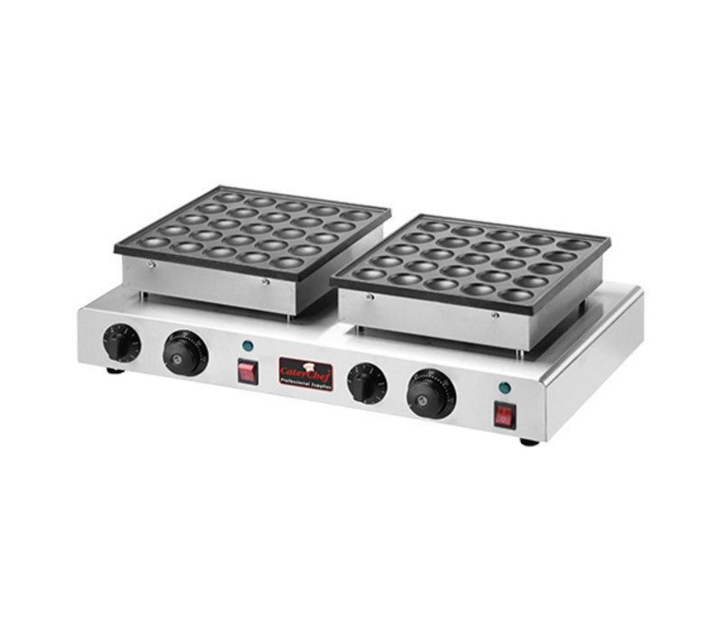Caterchef Doppelte Poffertjes Backplatte | 2 x 25 Poffertjes | 17000W | 620 x 375 x (H) 170 mm
