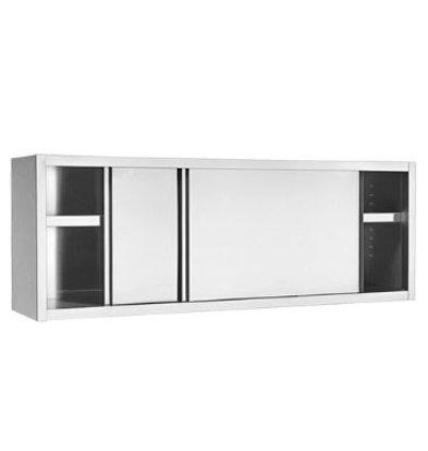 XXLselect Wandschrank | Edelstahl | Zwischenboden und Schiebetüren | 180cm