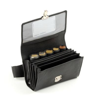Pavelinni Leder Gastronomie Geldbörse | 4 Zwischenfächer + Münzhalter | Mit Nylongürtel | 170x130x35mm