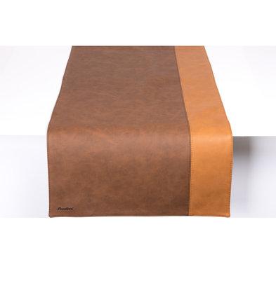 Pavelinni Leder Tischläufer | Streifen Havanna/Cognac | Doppelseitig | 450x1200mm | Erhältlich in 10 Farben
