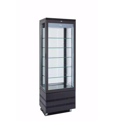 Tekna Kühlvitrine | Schwarz | EVO 670 4LE P | Rotierende Glasplatten | 670x640x(H)1950 mm