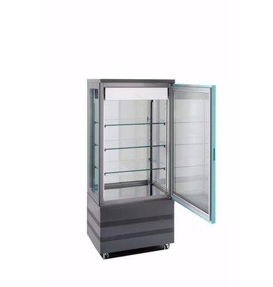 Tekna Kühlvitrine mit Glastür | EVO670 TOP NFP Schwarz 3LE | 3 Glasseiten | 670x640x(H)1500 mm