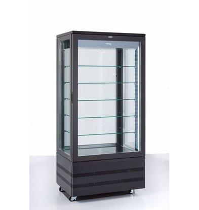 Tekna Kühlvitrine mit Glastür | EVO900 NFP Schwarz 4LE | 4 Glasseiten | 900x640x(H)1500 mm