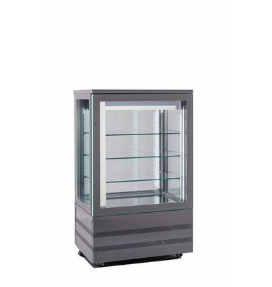 Tekna Gefrierschrank mit Glastür | EVO900 NFN TOP Schwarz 4LE | 4 Glasseiten | 900x640x(H)1500 mm