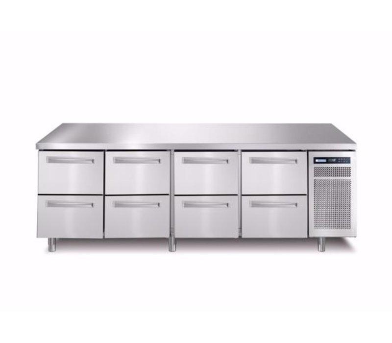 Afinox Kühltische | 4x 2 Schubladen | SPRING 704 I/A TN 8L | 2260x700x(H)900mm
