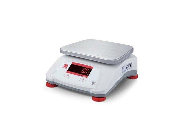 Ohaus Valor 2000 Waage | Maximal 6 kg Anzeige pro 1G | Kunststoff-Gehäuse mit Edelstahl-Auflagefläche | 242x190 mm