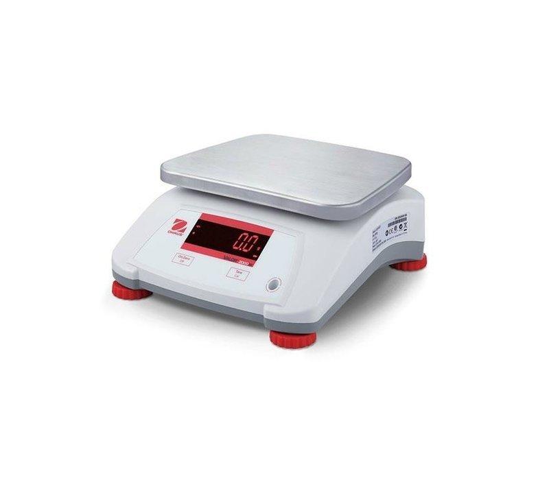 Ohaus Valor 2000 Waage | Maximal 15 kg Anzeige pro 2G | Kunststoff-Gehäuse mit Edelstahl-Auflagefläche | 242x190 mm