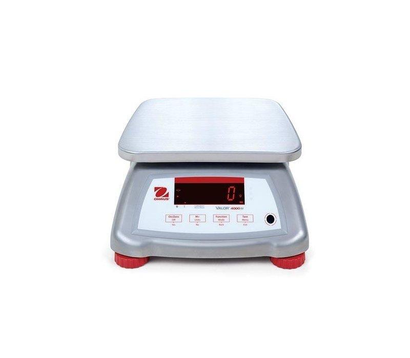 Ohaus Valor 4000 Waage | Maximal 6 kg Anzeige pro 1 G | Edelstahl-Gehäuse mit Edelstahl-Auflagefläche | 242x190 mm