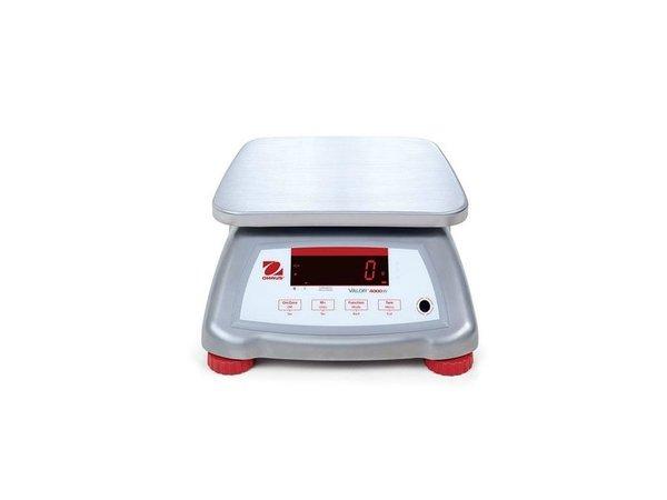 Ohaus Valor 4000 Waage | Maximal 15 kg Anzeige pro 2 G | Edelstahl-Gehäuse mit Edelstahl-Auflagefläche | 242x190 mm