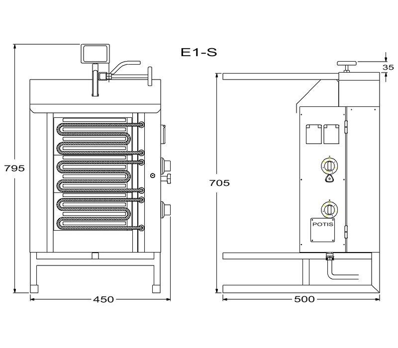 Potis Gyros-Grillgerät Elektro E1-S   15 Kg   4,5kW- 400/230V 2/N/PE   Fettwanne 500x500